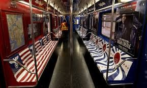 New York City subway decorated after the Man in the High Castle.